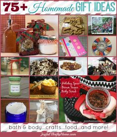 More than 75 homemade gift ideas for anyone on your list. Includes bath and body, crafts, food gifts and more! - Joyful Thrifty Home