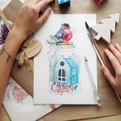 «❄️Новогодняя открытка для @mi_casa_project новогоднее настроение несмотря на ливень за окном(…»
