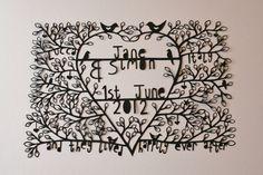 Customised bespoke papercut, paper cut, wedding gift, anniversary gift, present, family tree, folk art, monotone, black. £120.00, via Etsy.