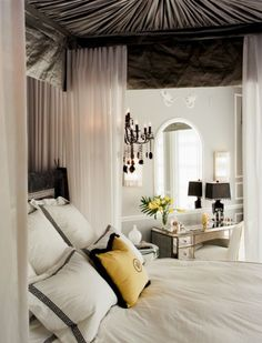 #yellow #gray #bedrooms