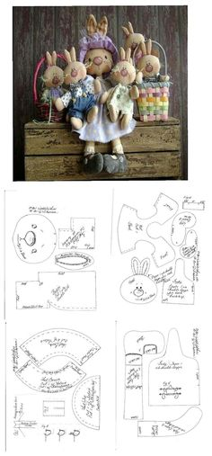 Stuffed Momma Bunny & her Lil Bunnies Pattern . Doll Clothes Patterns, Doll Patterns, Softies, Doll Toys, Baby Dolls, Fabric Toys, Sewing Dolls, Primitive Crafts, Doll Maker