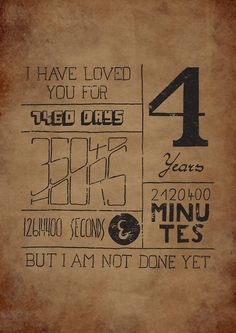 Hand drawn Typography for 4 years anniversary.  | Click here to help someone Submitted by krashek