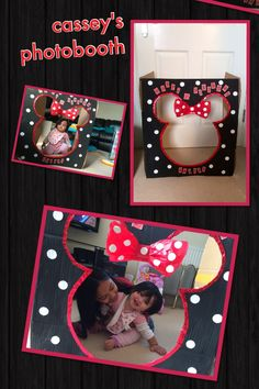 my daughters trying the minnie mouse photo booth that i made