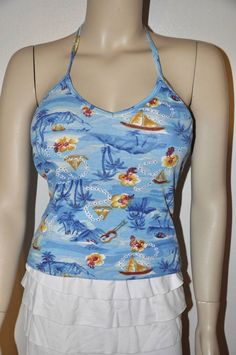 SEXY BLUE FLORAL SAILBOAT POLY/COTTON PINE TREES HALTER TOP BEACH PARTY TANK TOP #INCHARGE #Halter #Casual