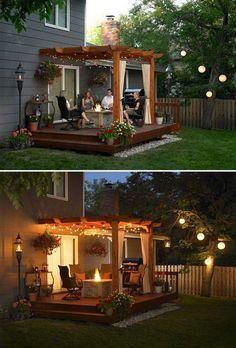 Backyard pergola with string lighting can often be a wonderful place of gathering of family and friends.