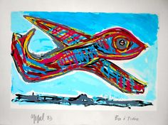 Fokker 100 painting by Karel Appel