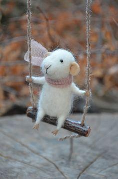 Swinging Tiny Mouse by feltingdreams