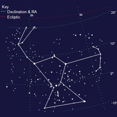 Constellation Orion via a star map.