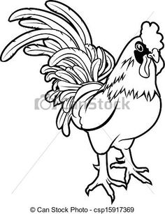 Imgs For > Fighting Rooster Line Drawing