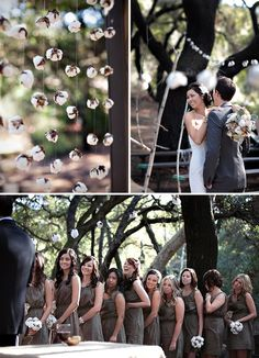 raw cotton garland~love.  mimicked in the brown maids dresses and creamy white bridal gown~truly love.