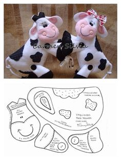 Cow pattern, just lovely ,nice as a brooch, or bag charm Sewing Toys, Sewing Crafts, Sewing Projects, Diy Projects, Sewing Stuffed Animals, Stuffed Animal Patterns, Fabric Toys, Felt Fabric, Felt Patterns