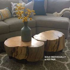Ellen-style Log Coffee Table stump table stump stool by woodZwayz - Home Decor Ideas Log End Tables, Log Coffee Table, Log Table, Stump Table, Wood Tables, Tree Table, House Coffee, Farm Tables, Dining Tables