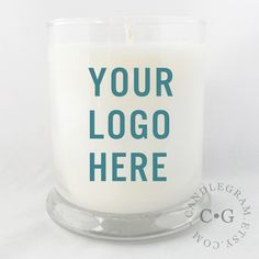 Natural Soy Candle with Custom Label: Great Corporate Thank You Gift, add a photo or your Childs art for a great smelling gift.