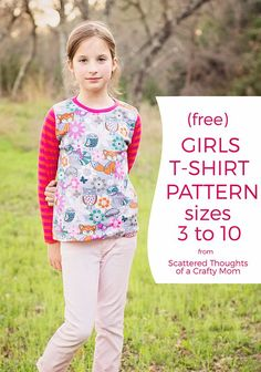 Learn to sew a T-shirt with this free t-shirt pattern for girls. (Size 3 to - Fashionable T Shirt - Ideas of Fashionable T Shirt - Learn to sew a T-shirt with this free t-shirt pattern for girls. (Size 3 to Sewing Patterns Girls, T Shirt Sewing Pattern, Kids Patterns, Clothing Patterns, Girls Shirt Pattern, Pants Pattern, Dress Patterns, Sewing Projects For Kids, Sewing For Kids