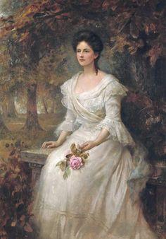 Hughes, Edward Robert (b,1851)- Woman on Bench Holding Single Rose