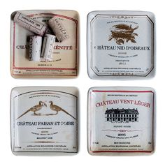 """4 Piece Sonoma 5"""" Plate Set with Vintage Wine Labels"""