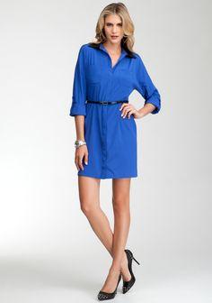 Leatherette Collar Cutout Shirt Dress 4