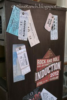 Bliss Ranch: Long Live Rock Teen Boys Dresser...LOVE this side with concert tix and other mementos!