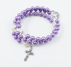 Purple Rosary Bracelet Full Five Decade Wrap by ChapletsNSuch