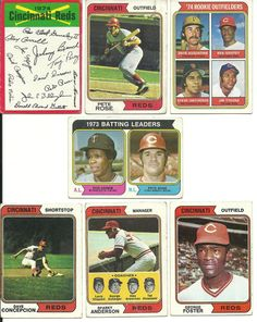 1974 vintage REDS Topps 24 cards partial team set lot 2 Rose cards 2 RCs   #CincinnatiReds
