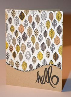Adorable Autumn leaf card with some hand lettered detailing! Fall Leaves Hello Card by honeykd at @Studio_Calico