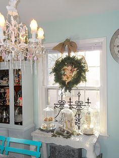 I like the wreath hanging in the window