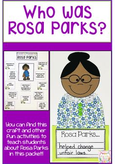 Help your students learn about Rosa Parks with the activities in this packet. It includes a craft emergent reader anchor chart timeline printables posters and more. Great for Black History month in February. Kindergarten Activities, Writing Activities, Preschool Prep, Montessori Activities, Preschool Worksheets, Writing Ideas, Educational Activities, Rosa Parks Timeline, Who Was Rosa Parks