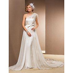 Sheath/Column One Shoulder Court Train Chiffon And Organza Wedding Dress