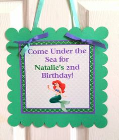 The Little Mermaid door sign by BerrySweetParties on Etsy, $10.00