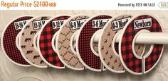 HOLIDAY SALE 7 Custom Baby Closet Clothes Dividers Red Black Buffalo Plaid Deer Bear Tan Rustic Woodland Nursery Baby Bedding Baby Shower Gi by GinaMarieOriginals on Etsy https://www.etsy.com/listing/258307455/holiday-sale-7-custom-baby-closet