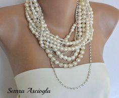 Novias capas grueso collar con pedrería y perlas de cristal checo