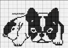 grille bouldogue French bulldog Beaded Cross Stitch, Cross Stitch Charts, Cross Stitch Designs, Cross Stitch Embroidery, Cross Stitch Patterns, Filet Crochet Charts, Knitting Charts, Knitting Stitches, Dog Crafts