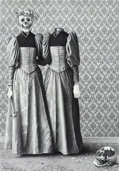 Laurie Lipton- this reminds me of memento mori- when the victorians would take pictures of there dead- its fits well with the dresses that they are wearing in the image- the strangeness and black and white color scheme works well down to even the victorian style wallpaper on the walls. Its strange but interesting.