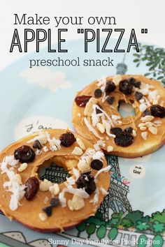 Apple Pizza Snack Activity for Preschool and Kindergarten. Kids can make this apple snack themselves to support fine motor skills and independence. A healthy snack your kids will love! (you can substitute the peanut butter with a peanut free alternative if necessary)