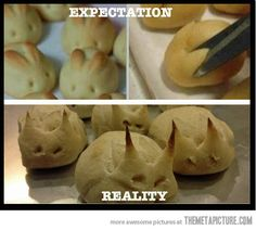 Be careful this easter that your bunny rolls don't turn into demon rolls.