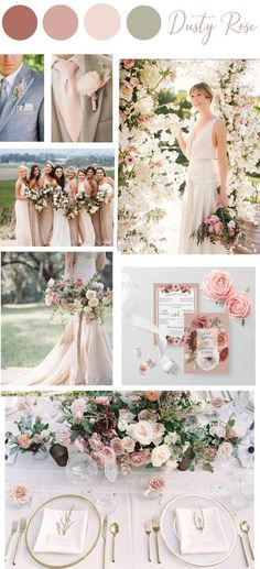 Top 9 Elegant & Summer Wedding Color Palettes for 2019 [ Top 9 Elegant Summer Wedding Color Palettes for pink soft hued wedding theme, floral wedding centerpieces. Peach Wedding Colors, Romantic Wedding Colors, Romantic Wedding Receptions, Dusty Rose Wedding, Blush Pink Weddings, Wedding Color Schemes, Romantic Weddings, Pink Wedding Theme, Color Palette For Wedding