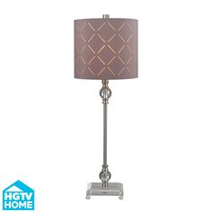Criss cross laser cut shade in taupe, acrylic table lamp.  Elk Lighting + HGTV
