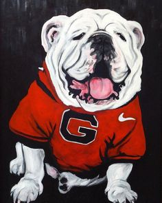 Top Dawg Canvas Print by Pete Maier. All canvas prints are professionally printed, assembled, and shipped within 3 - 4 business days and delivered ready-to-hang on your wall. Choose from multiple print sizes, border colors, and canvas materials. Bulldog Drawing, Bulldog Tattoo, Bulldog Wallpaper, Georgia Bulldogs Football, Bulldog Mascot, Georgia Girls, Nfl, Thing 1, Canvas Prints