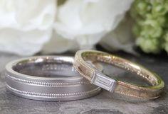 ミルグレインをお揃いでデザインに取り入れました。 女性はバケットカットのダイヤモンドを特別に石留め。 [marriage,wedding,ring,bridal,K18,gold,Pt900,ダイヤモンド,diamond,マリッジリング,結婚指輪,オーダーメイド]