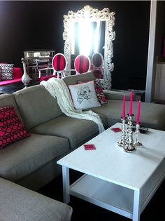 Black And White And Pink Living Room just my style: glam, black white, gold, pink and leopard!! yay