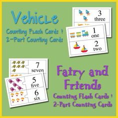 Free Fairy and Friends and Vehicle Counting Flash Cards & 2 Part Counting Cards.  (2 separate downloads, fairies and vehicles)
