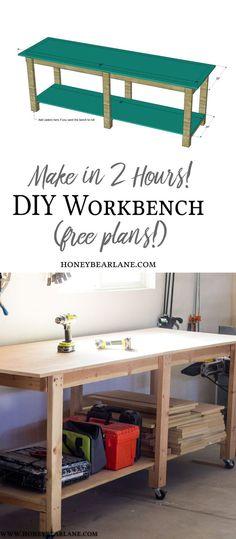 DIY Workbench - Make in 2 hours. #diy #diyproject #workbench