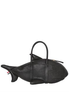 Thom Browne Shark Pebble-grain Leather Tote Bag In Black Bespoke Clothing, Luxury Shop, Thom Browne, Pebbled Leather, Grosgrain, Shark, Gym Bag, Product Launch, Unisex