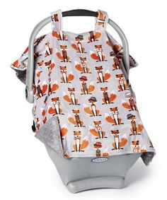 Loving this Graphite & Nifty Fox Minky Car Seat Canopy on Cozy Cover, Nifty, Cover Design, Canopy, Baby Car Seats, Floral Tops, Graphite, Fox, Shopping