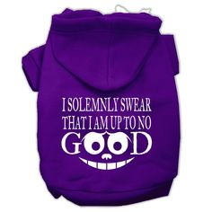 Up to No Good Screen Print Pet Hoodies Purple Size Med (12)