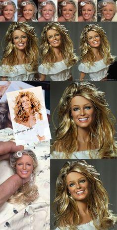 ::  www.ncruz.com::  Farrah Fawcett vs. 10.0 Black Label Barbie Repainted & Restyled by Cruz Fashion Royalty Dolls, Fashion Dolls, Vintage Barbie, Vintage Dolls, Ooak Dolls, Art Dolls, Celebrity Barbie Dolls, Custom Barbie, Realistic Dolls
