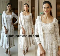 Shilpa Reddy in White Anarkali – South India Fashion Anarkali Dress Pattern, Gown Pattern, Anarkali Frock, Cotton Anarkali, Anarkali Suits, Churidar Designs, Lehenga Designs, Indian Attire, Indian Outfits