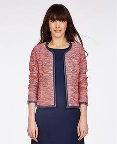 Veste en tweed TENAO - Couleur CORALbiais cuir