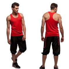 Free Shipping 2013 New Fashion Men's Workout Clothes Vest Pant 2 Pcs Aerobics Set Yoga Clothes Mens Sports Casual Wear Gym Suit-inMen from A...