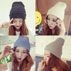 fdc98084378 2017 Autumn Winter New Hot Fashion Female Basic Classic Knitting Solid  Color Caps Hats Women Casual Thick Warm Skullies Beanies